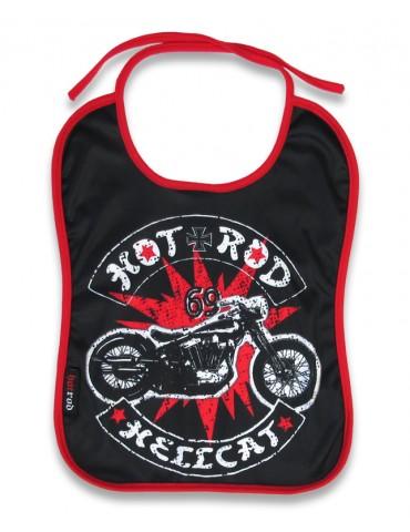 Bavoir Hotrod Hellcat Bober moto sur fond d'éclat rouge