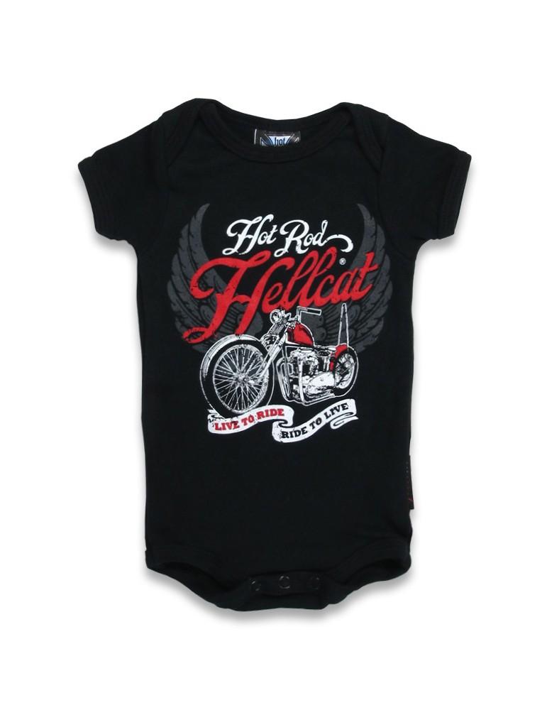 Body Bébé Hotrod Hellcat Live to Ride - Moto avec 2 ailes grises en fond