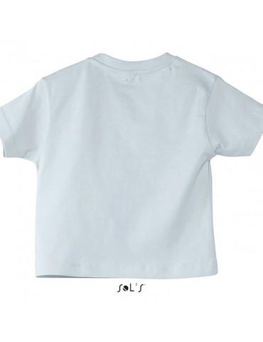 Tee-shirt bébé blanc avec un petit bébé motard assis portant un casque vert - vue de dos