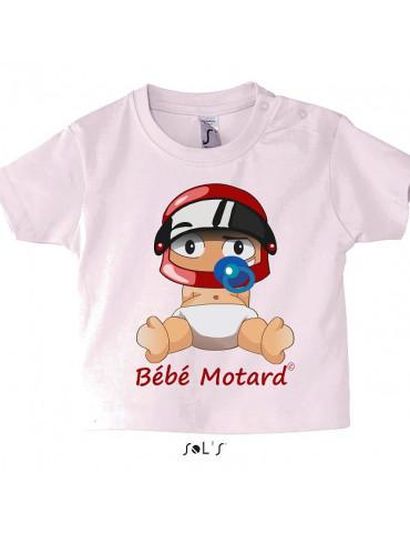 Tshirt en coton avec le petit moutard casqué -  vue de face avec le casque rouge