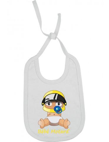 Bavoir Bébé Motard à lacets - Bébé Assis - blanc avec casque jaune