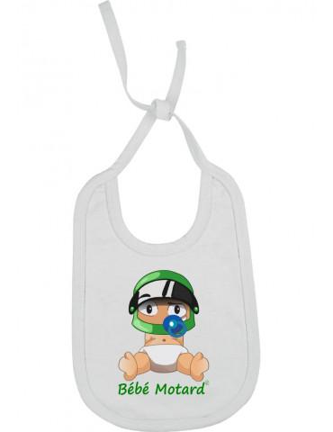 Bavoir Bébé Motard à lacets - Bébé Assis - blanc avec casque vert