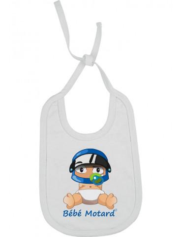 Bavoir Bébé Motard à lacets - Bébé Assis - blanc avec casque bleu