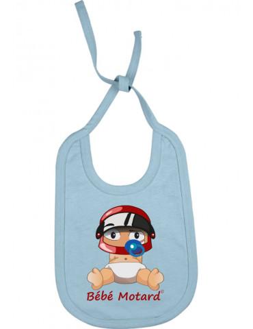 Bavoir Bébé Motard à lacets - Bébé Assis - blanc avec casque rouge