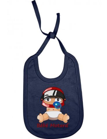 Bavoir Bébé Motard à lacets - Bébé Assis - french marine avec casque rouge