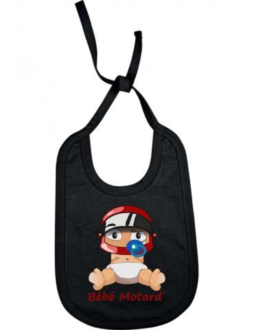Bavoir Bébé Motard à lacets - Bébé Assis - noir avec casque rouge