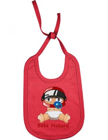 Bavoir Bébé Motard à lacets - Bébé Assis - rouge avec casque rouge