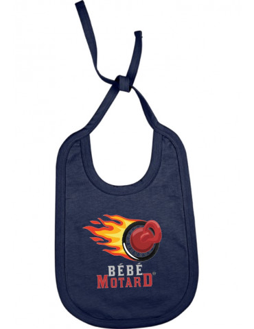 Bavoir à lacets Bébé Motard - Logo - french marine