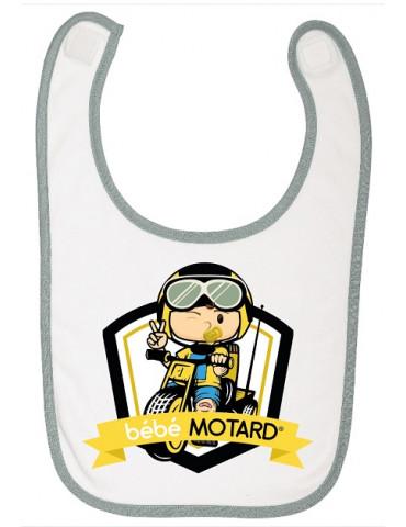 Bavoir à scratch Bébé Motard - Tricycle - motif de couleur jaune