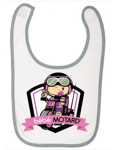 Bavoir à scratch Bébé Motard - Tricycle - motif de couleur rose
