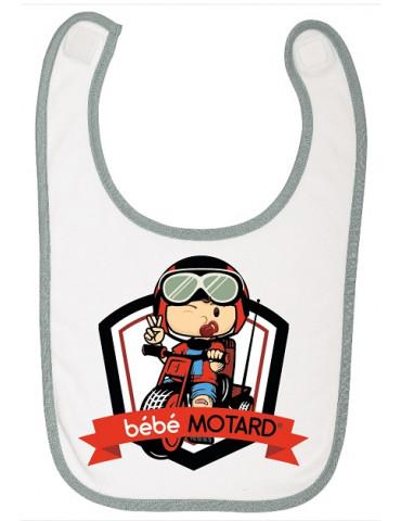 Bavoir à scratch Bébé Motard - Tricycle - motif de couleur rouge