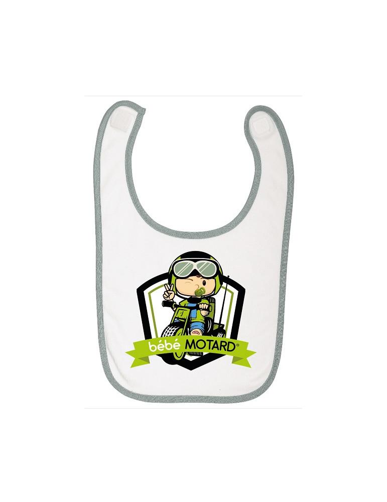 Bavoir à scratch Bébé Motard - Tricycle - motif de couleur vert