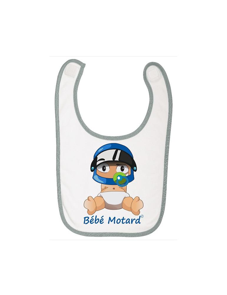 Bavoir à scratch Bébé Motard - Bébé Assis - casque bleu