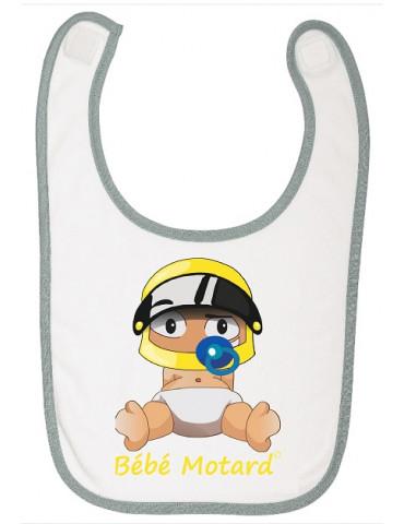 Bavoir à scratch Bébé Motard - Bébé Assis - casque jaune