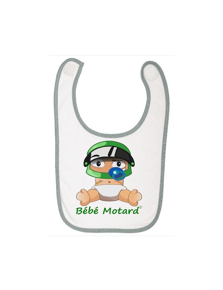 Bavoir à scratch Bébé Motard - Bébé Assis - casque vert