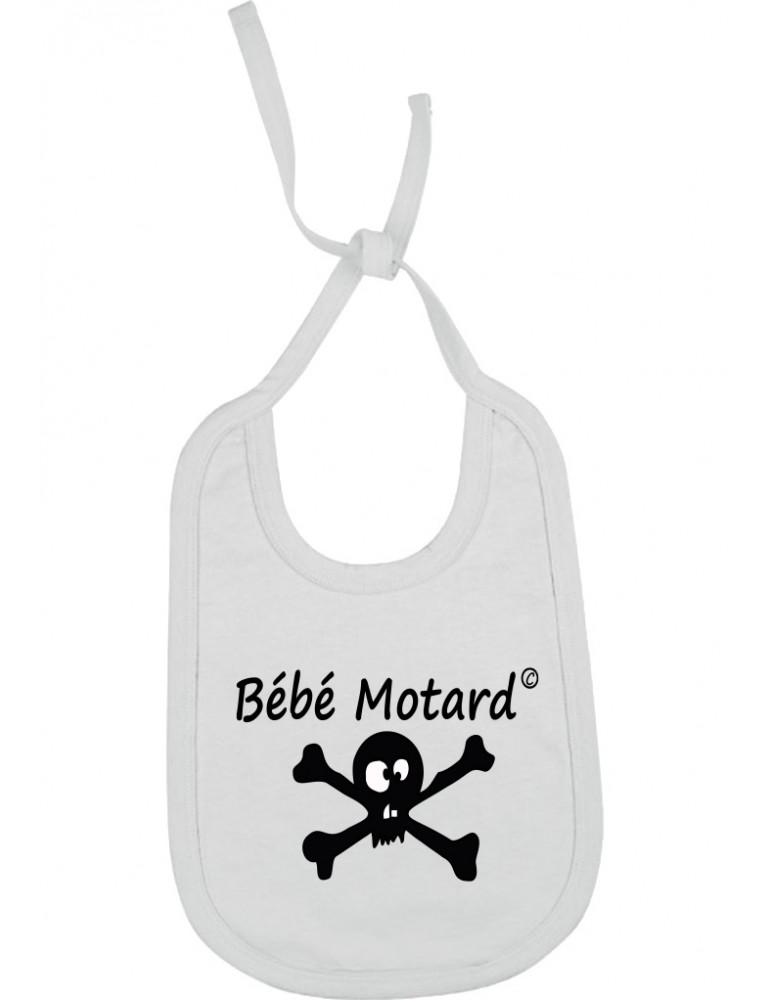 Bavoir blanc à lacets Bébé Motard - Skullz - tête de mort noire