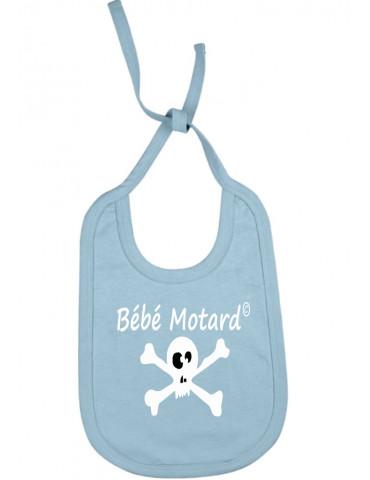 Bavoir bleu à lacets Bébé Motard - Skullz - tête de mort blanche