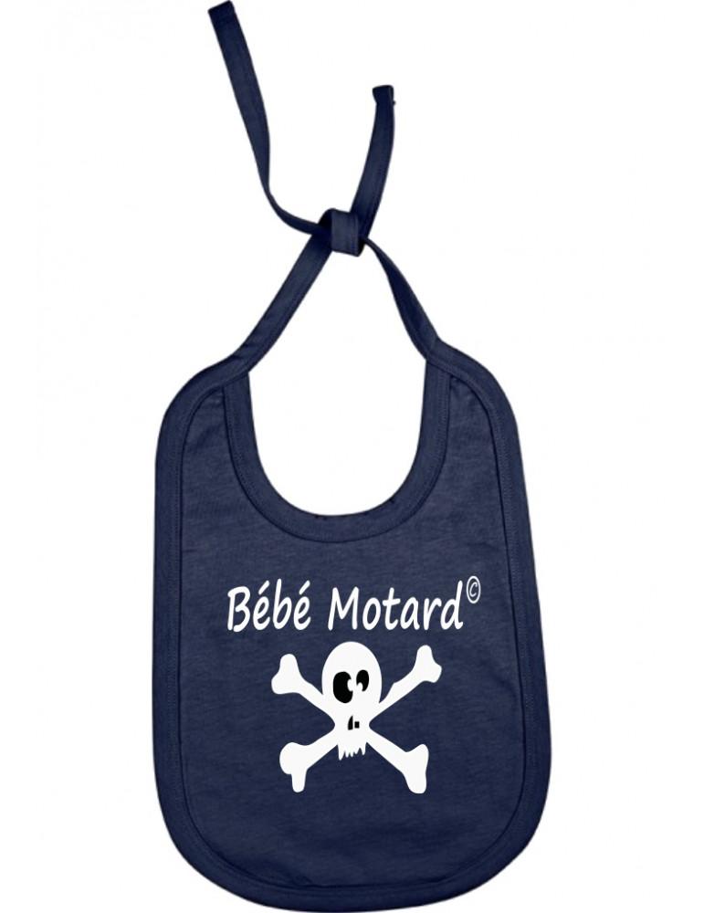 Bavoir french marine à lacets Bébé Motard - Skullz - tête de mort noire