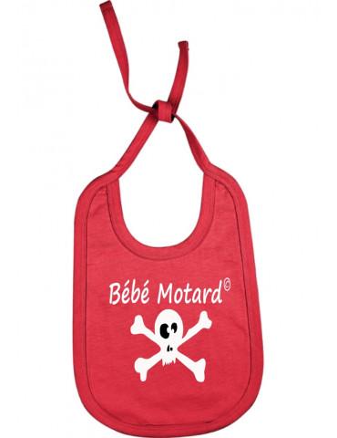 Bavoir rouge à lacets Bébé Motard - Skullz - tête de mort blanche