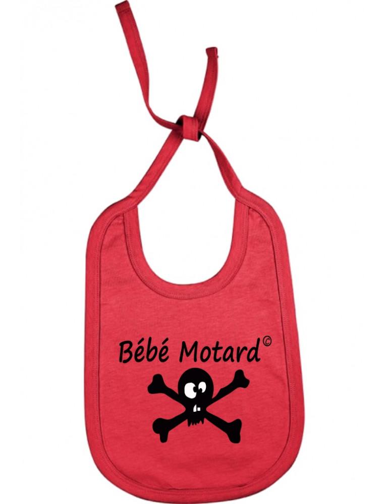 Bavoir rouge à lacets Bébé Motard - Skullz - tête de mort noire