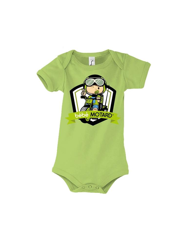 Body Bébé Motard - Tricycle Vert - vert vue de face avec le motif