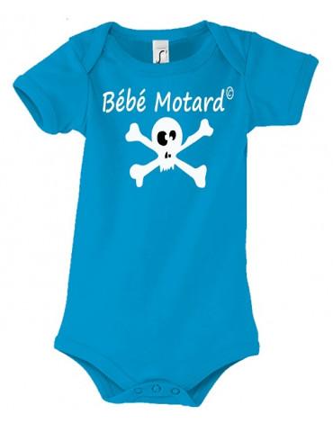 Body Bébé Motard - Skullz Blanc - Vue de face avec le motif de tête de mort blanche - couleur aqua