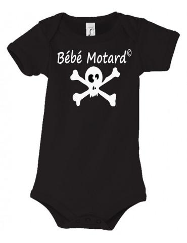 Body Bébé Motard - Skullz Blanc - Vue de face avec le motif de tête de mort blanche - couleur noir