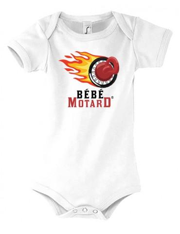 Body bébé Bébé Motard - vue de face avec le logo - roue enflammée avec axe en forme de tétine - couleur blanc