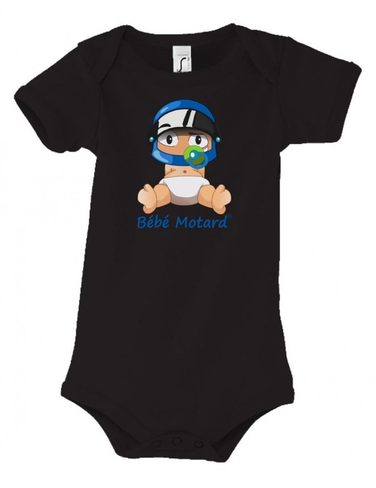 Body Bébé Motard - vue de face avec le Bébé Assis et son casque Casque Bleu - couleur noir