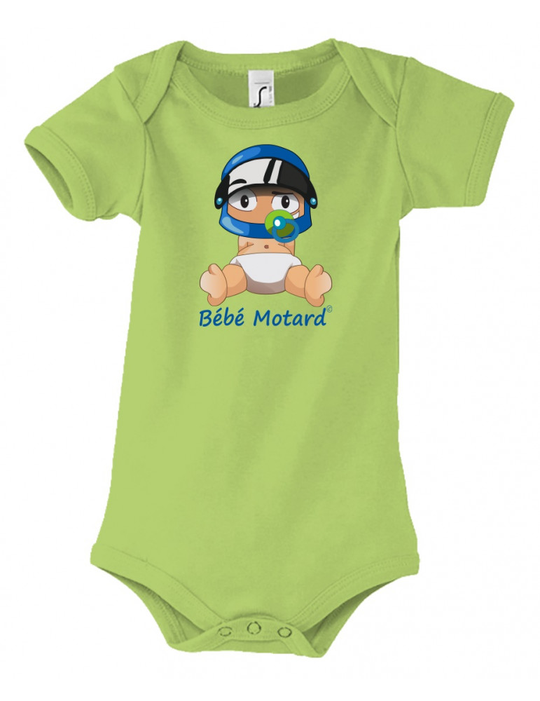 Body Bébé Motard - vue de face avec le Bébé Assis et son casque Casque Bleu - couleur vert