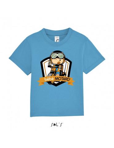 Tee-shirt Bébé Motard Mosquitos - vue de face avec le motif Tricycle jaune - couleur bleu