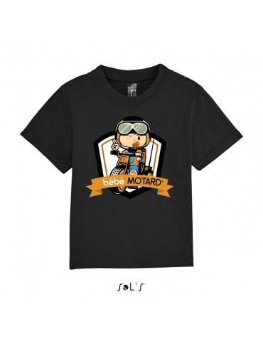 Tee-shirt Bébé Motard Mosquitos - vue de face avec le motif Tricycle jaune - couleur noir
