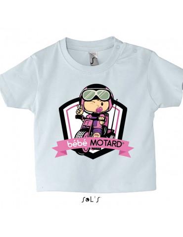 Tee-shirt Bébé Motard Mosquitos - vue de face avec le motif Tricycle rose - couleur blanc