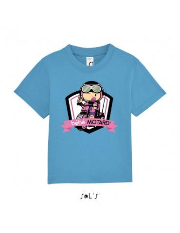 Tee-shirt Bébé Motard Mosquitos - vue de face avec le motif Tricycle rose - couleur bleu