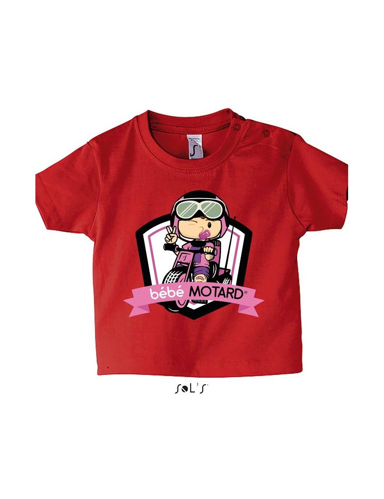 Tee-shirt Bébé Motard Mosquitos - vue de face avec le motif Tricycle rose - couleur rouge