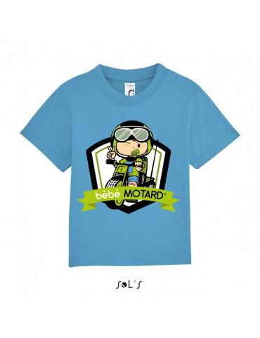 Tee-shirt Bébé Motard Mosquitos - vue de face avec le motif Tricycle vert - couleur bleu