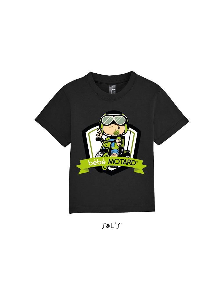 Tee-shirt Bébé Motard Mosquitos - vue de face avec le motif Tricycle vert - couleur noir