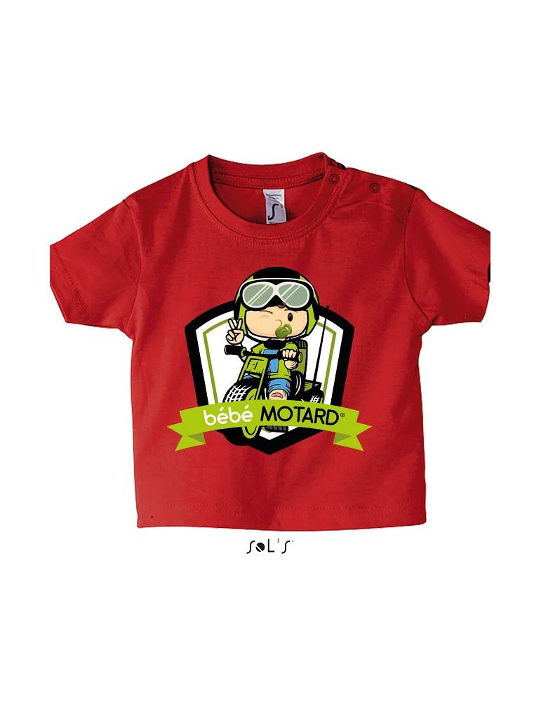 Tee-shirt Bébé Motard Mosquitos - vue de face avec le motif Tricycle vert - couleur rouge