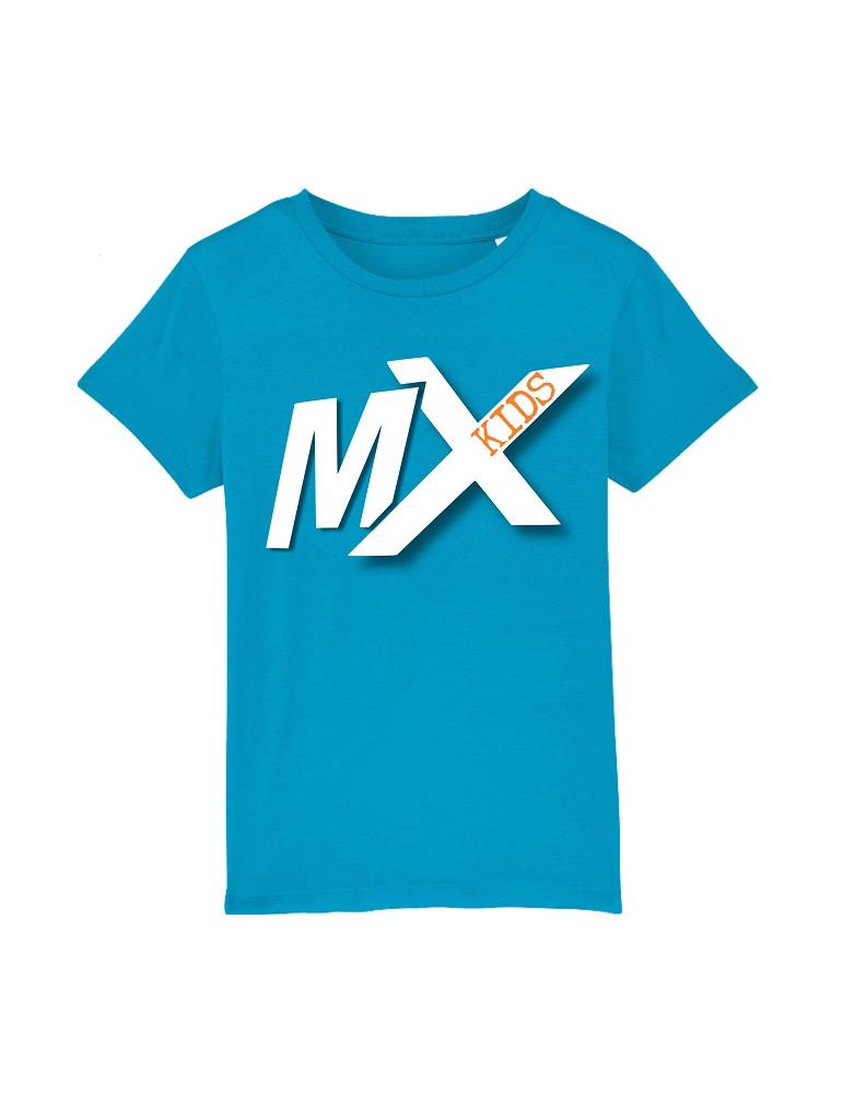 Tee-Shirt  Enfant BébéMotard - MX Kids (Bio) - Tee-shirt vue de face avec le motif - couleur azur