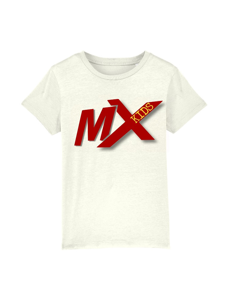Tee-Shirt  Enfant BébéMotard - MX Kids (Bio) - Tee-shirt vue de face avec le motif - Couleur blanc