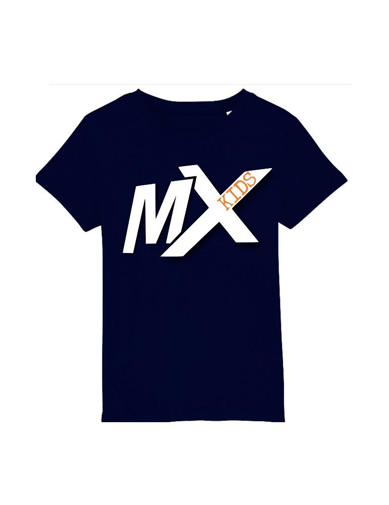 Tee-Shirt  Enfant BébéMotard - MX Kids (Bio) - Tee-shirt vue de face avec le motif - Couleur french marine