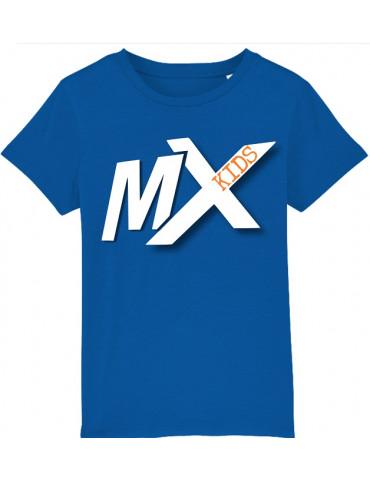 Tee-Shirt  Enfant BébéMotard - MX Kids (Bio) - Tee-shirt vue de face avec le motif - Couleur royal blue