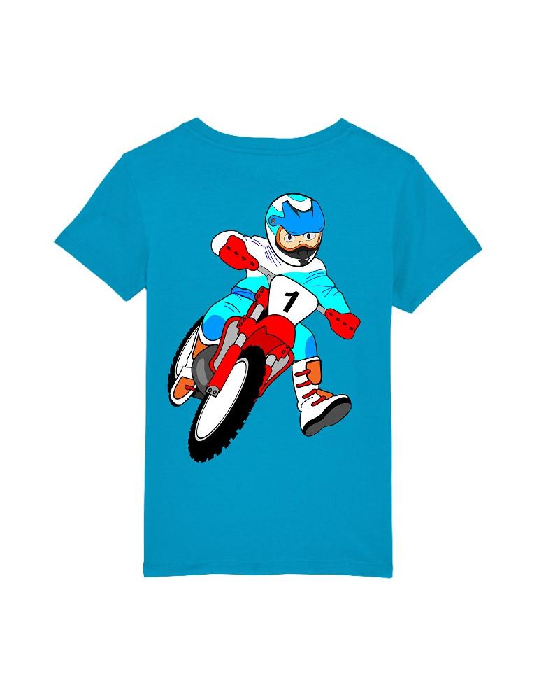Tee-Shirt  Enfant BébéMotard - Motocross (Bio) - Vue de dos avec le motif - Couleur azur