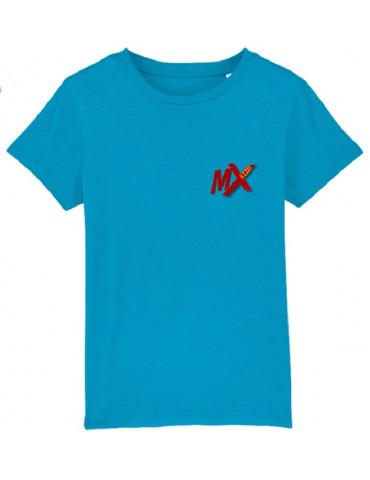 Tee-Shirt  Enfant BébéMotard - Motocross (Bio) - Vue de face avec le logo mx kids - Couleur azur