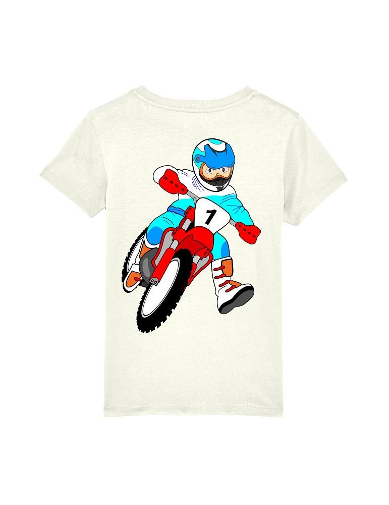 Tee-Shirt  Enfant BébéMotard - Motocross (Bio) - Vue de dos avec le motif - Couleur blanc