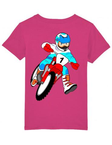 Tee-Shirt  Enfant BébéMotard - Motocross (Bio) - Vue de dos avec le motif - Couleur raspberry