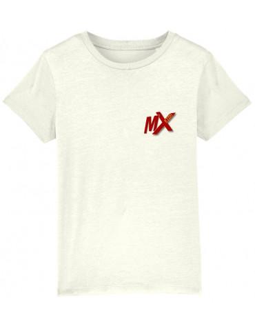 Tee-Shirt  Enfant BébéMotard - Motocross (Bio) - Vue de face avec le logo mx kids - Couleur blanc