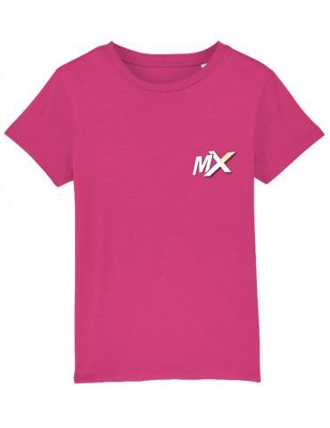 Tee-Shirt  Enfant BébéMotard - Motocross (Bio) - Vue de face avec le logo mx kids - Couleur raspberry
