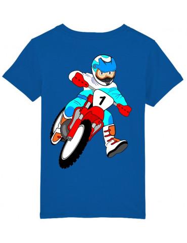 Tee-Shirt  Enfant BébéMotard - Motocross (Bio) - Vue de dos avec le motif - Couleur royal blue
