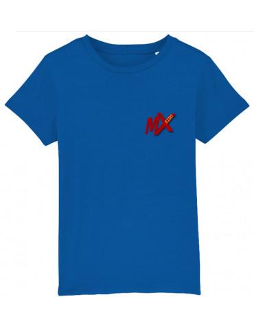 Tee-Shirt  Enfant BébéMotard - Motocross (Bio) - Vue de face avec le logo mx kids - Couleur royal blue